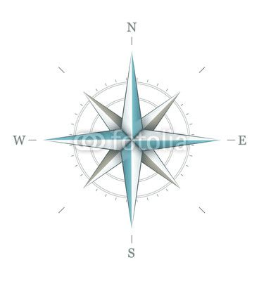 Antique Wind Rose Symbol For Navigation Isolated On White