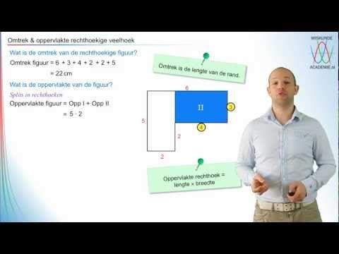 Omtrek & oppervlakte - rechthoekige figuren - WiskundeAcademie
