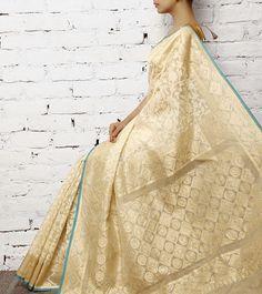 Off White Handwoven Banarasi Kora Silk Saree