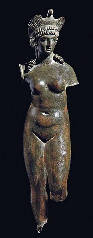 Bronze statuette of Isis-Aphrodite with dove headdress - Roman period, circa 2nd c. AD