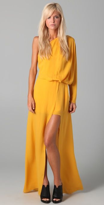 golden yellow ACNE dress. wish i had a reason to have this dress. it's so awesome.; love these shoes too