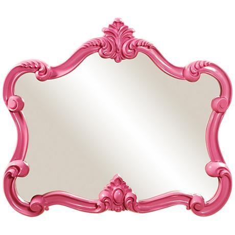 """Howard Elliott Veruca 32"""" x28"""" Pink Wall Mirror"""