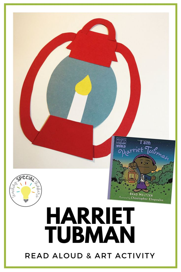 Harriet Tubman craft and picture book for kindergarten, pre-school, elementary unit for Black History Month Celebrating influential African Americans