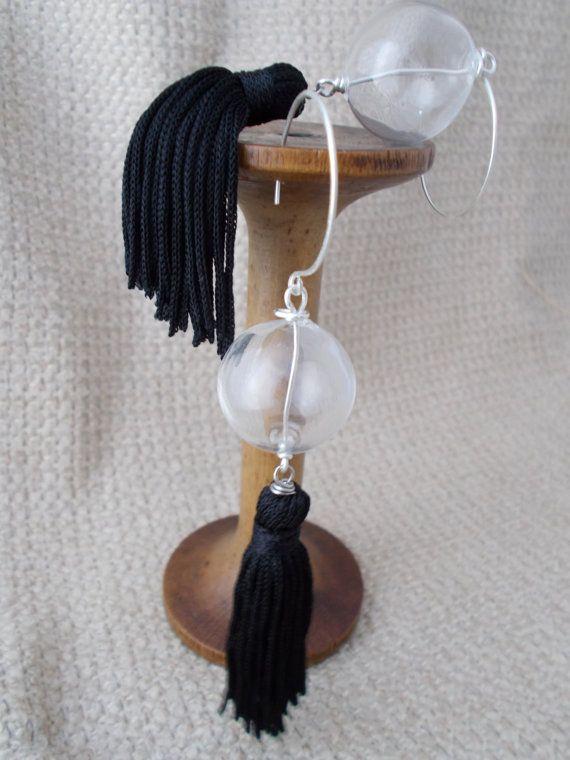 Clear blown glass bubbles sphere earrings black tassel di wadadaislove
