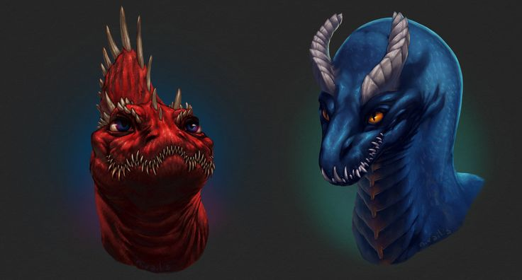 Crimson and Aquamarine by Nivailis on DeviantArt #dragon #dragons #digital #art #painting #krita #cg #fantasy #drawing