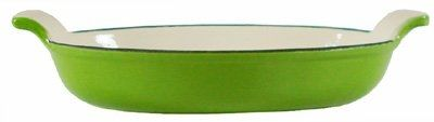 Buy Fancy Cook Home Kitchen Decorative Enameled Cast Iron Green Oval Roasting Dish Lasagna Pan 10' by Bakeware#2