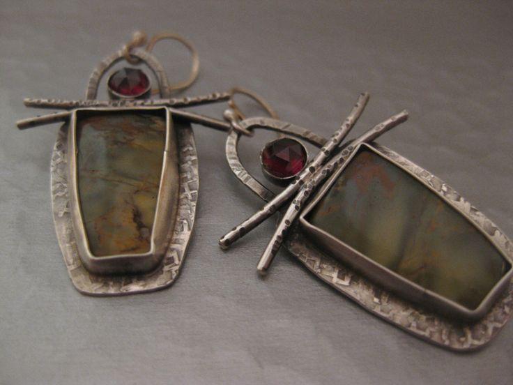 Cherry Creek Jasper and Garnet sterling silver dangle drop earrings by StrawberryFrog on Etsy https://www.etsy.com/listing/453883016/cherry-creek-jasper-and-garnet-sterling