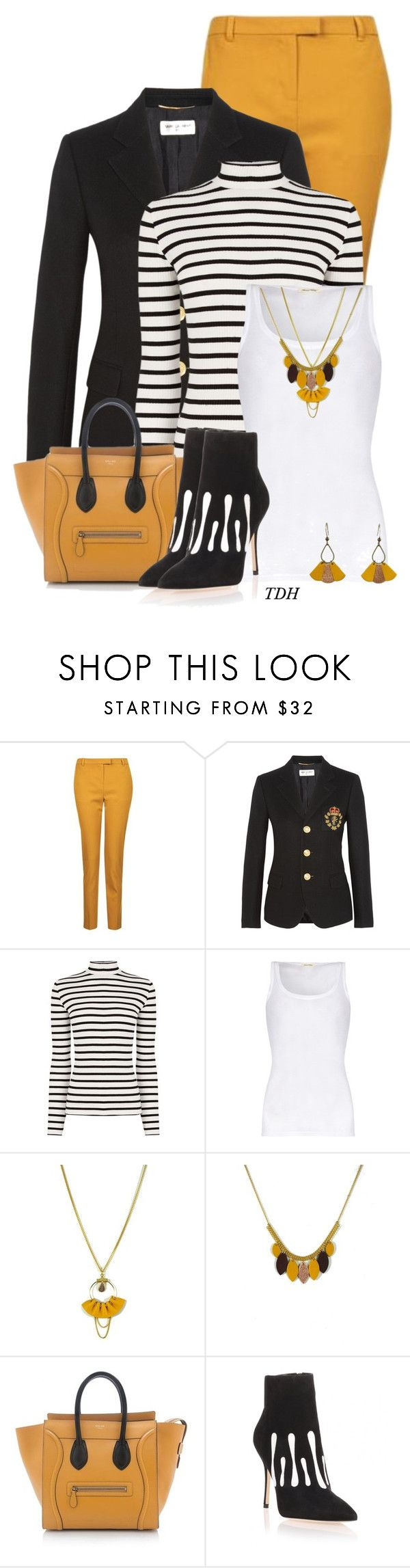 """Striped Jumper"" by talvadh ❤ liked on Polyvore featuring Topshop, Yves Saint Laurent, Oasis, American Vintage, Atelier Maï Martin, CÉLINE and Manolo Blahnik"