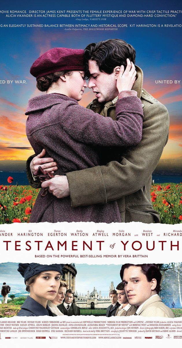 Directed by James Kent.  With Alicia Vikander, Kit Harington, Taron Egerton, Dominic West. A British woman recalls coming of age during World War I - a story of young love, the futility of war, and how to make sense of the darkest times.