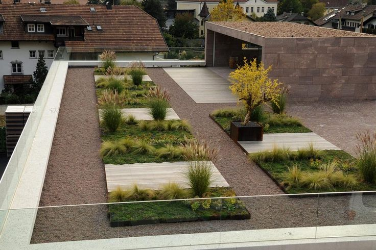Contained patch of greenery surrounded by tiling  hard landscaping - could be good for the courtyard