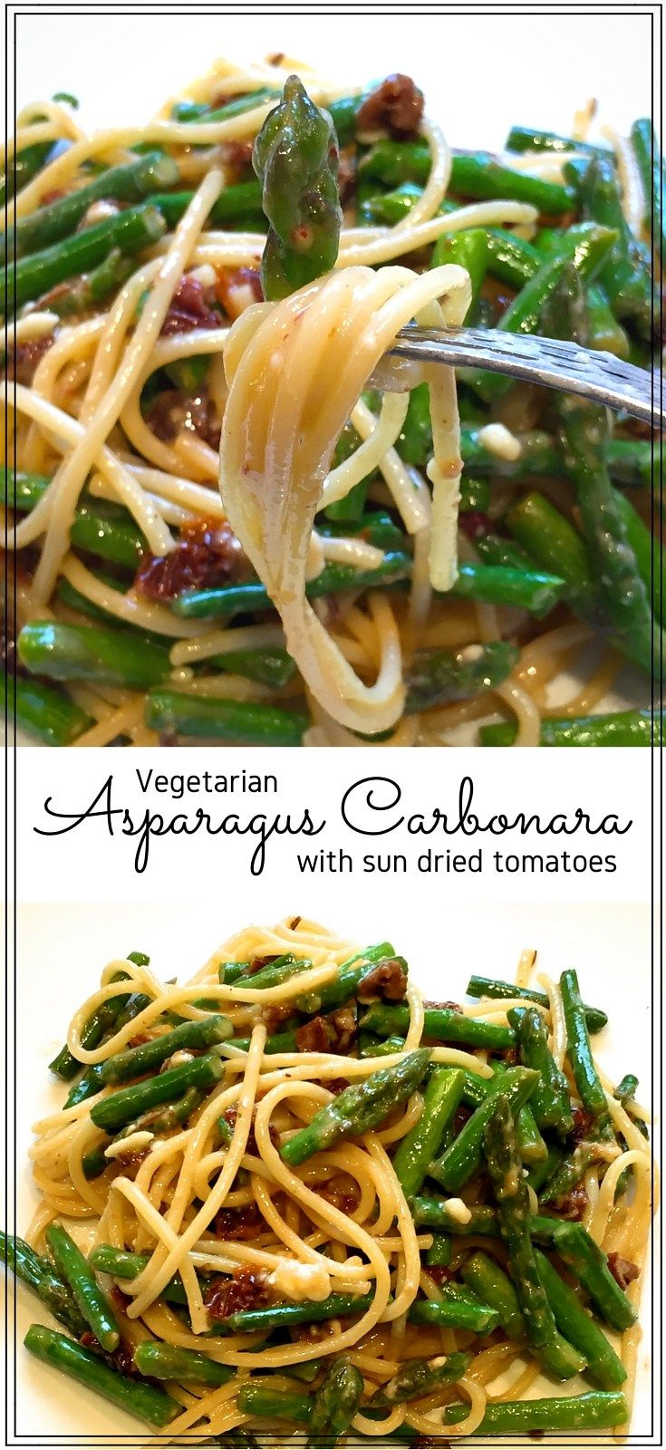 Asparagus carbonara - Rich & tasty, this quick & easy pasta dinner is a delicious way to use fresh, seasonal asparagus. Savoury sun dried tomatoes make this a vegetarian treat. #pasta #quickmeals #easyrecipes #vegetarian #spring #summer #summerfood #asparagus #seasonaleats