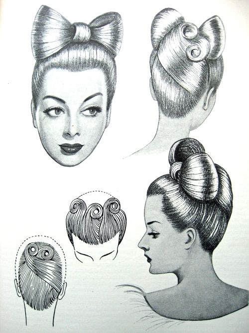"""Vintage Pin Up Hairstyles From """"The Art and Craft of Hairdressing"""", Edited version c.1958, originally published in 1931."""