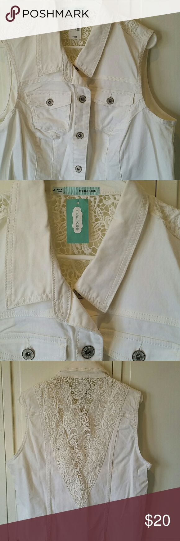 White denim vest BE READY FOR SPRING!  CUTE white denim vest with lace open back, staple piece for warmer weather Tops