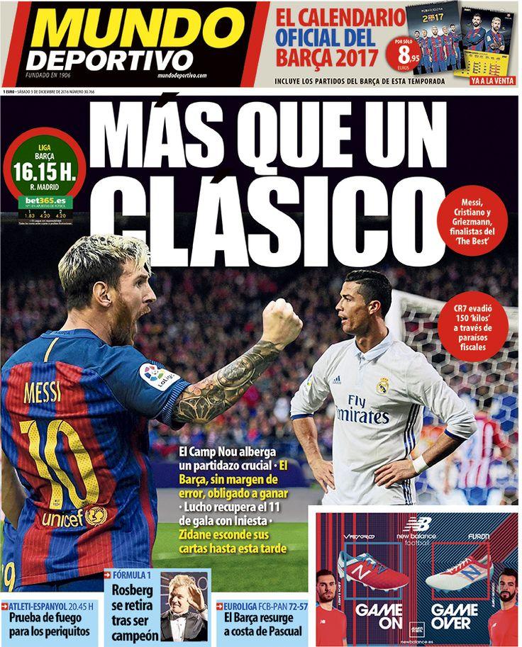 ¡Hola!, aquí os dejamos la portada de Mundo Deportivo del sábado 03 de diciembre
