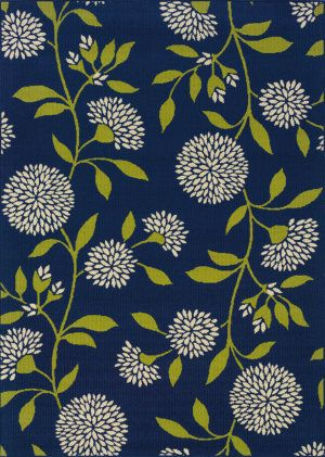 Navy and chartreuse rug