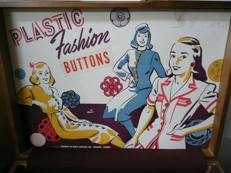 1950's store display, plastic housedress buttons.