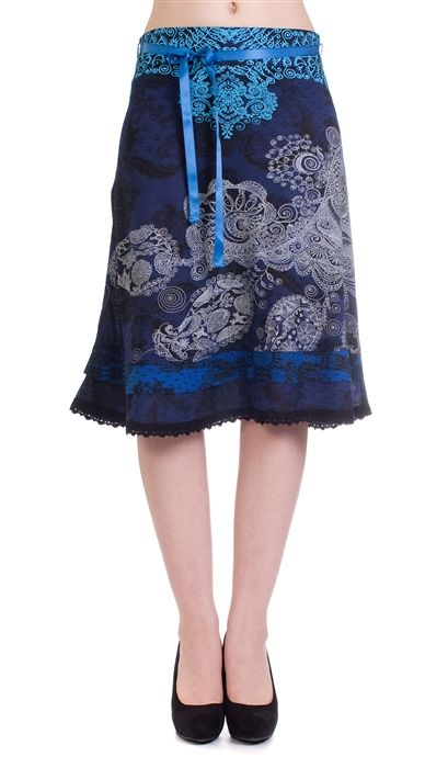 Desigual Deliney skirt (blue)  Desigual has been long known for their use of bright colors and the sexy Spanish style that is seen on all of their clothes. Their skirts are a customer favorite.