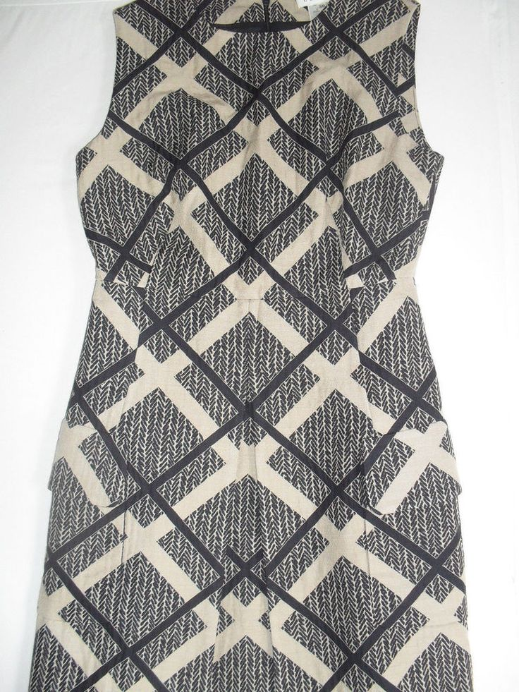 Celine Blue and Beige Sleeveless Dress With 2 Pockets Size FR38/US6-8 #Celine #WeartoWork