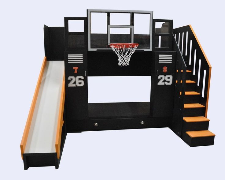 Ultimate Basketball Bunk Bed with staircase, slide, trundle, fiberglass backboard w' breakaway rim, desk and drawers.