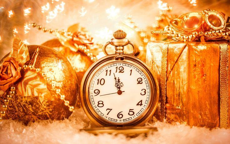 Скачать обои новый год, new year, часы, подарки, золотой, раздел новый год в разрешении 1280x800