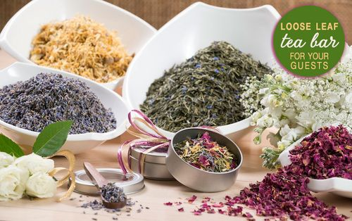 Present your guests at the bridal shower or wedding with a loose leaf tea bar and let them create their own blend(s).