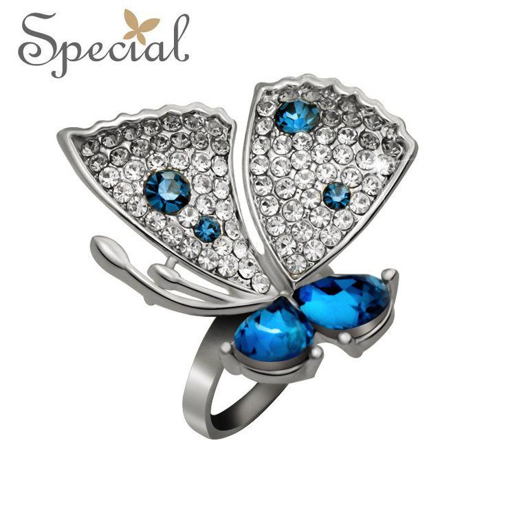 Специальный новинка обручальные кольца большая бабочка дизайн кольца бесплатная доставка подарки для девочек женщины девушки JZ150509