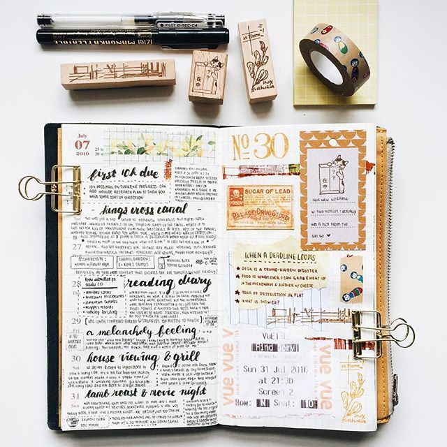 Week 30 in my MTN  #midoritravelersnotebook #travelersnotebook #travelersnote #travelerscompany #diary #journal #artjournal #creativejournal #planner #weeklyplanner #maskingtape #washitape #memorykeeping #stationeryaddict #stickers #ephemera #stamps #potteringcat #paperlove #chamilgarden #handwriting