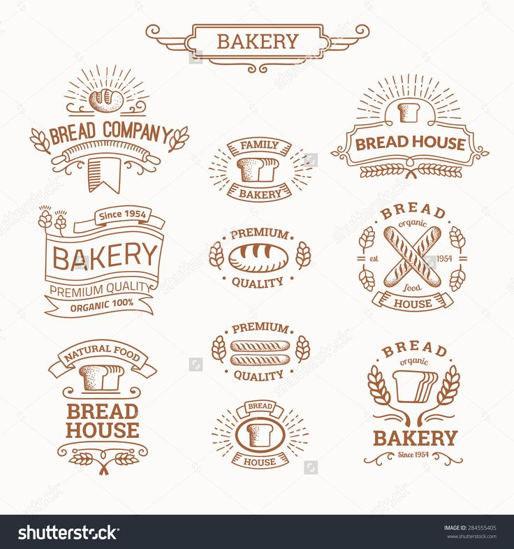 Retro Set Label Of Bread Bakery. Old Style Elements, Logos, Logotypes For Badges, Bread Company, Bread House, Cafe, Cake Shop. Logo Collection. Illustration vectorielle libre de droits 284555405 : Shutterstock