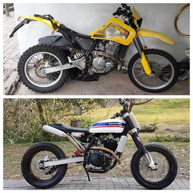 Before and After #wolfmoto #custom #ccm #644ds #suzuki #dr650 #streettracker…