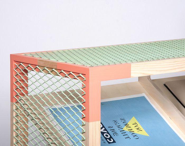 présentoir étagère magazine grillage couleurs pastel