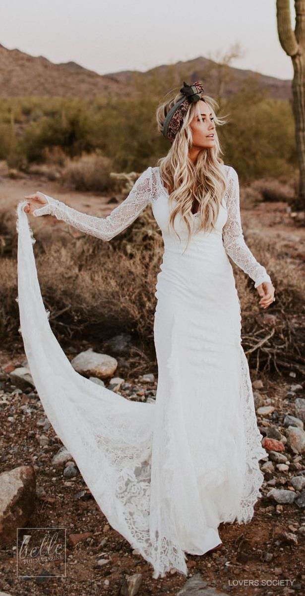 The Ultimate Boho Bride With Gorgeous Lace Gown Wedding Dresses Lace Wedding Dresses Simple Wedding Dresses