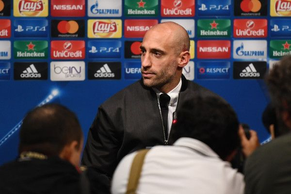 Pablo Zabaleta Photos Photos - Pablo Zabaleta of Manchester City speaks to the media during the Manchester City Press Conference at Camp Nou on October 18, 2016 in Barcelona, Spain. - Manchester City Press Conference