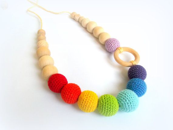 Rainbow Nursing Teething Necklace Crochet by EvelinJewelry on Etsy, $24.99