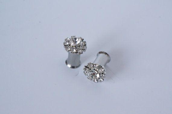 Diamond Gauges Plugs Rhinestone 0g 2g 4g 8mm 6mm 5mm on Etsy, $22.00