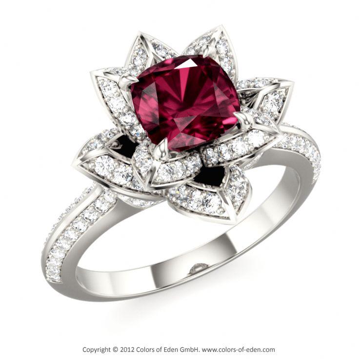Lotus Engagement Ring with Rhodolite Garnet and Diamonds