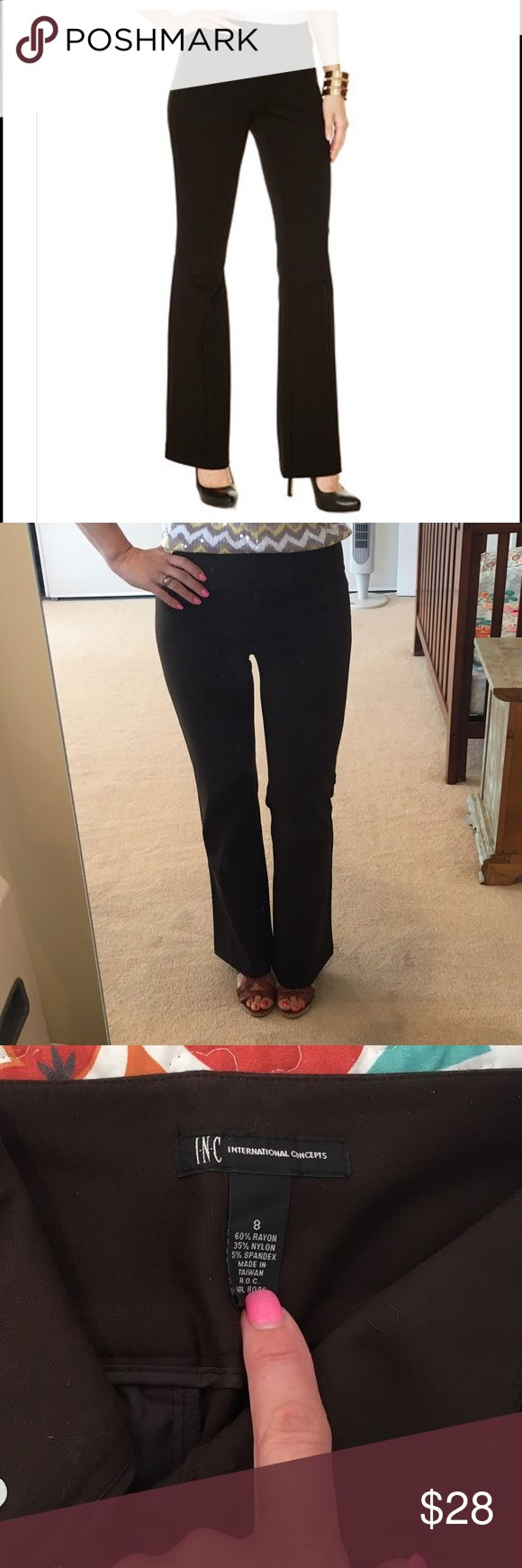 """INC International Concepts Brown Ponte Pants -sz 8 INC's dark chocolate brown bootcut ponte pants are perfect for that curvy fit! They hug your hips before slightly flaring out into a chic bootcut silhouette.  Mid-rise and stretchy, these business casual pants are perfect for days when you have a little extra tummy to hide :).  Slit pockets in front and back are non-functional - only for design purposes.  Worn MAYBE twice! 17"""" waist, 32"""" inseam, 10"""" rise.  Bundle and save big! No trades…"""