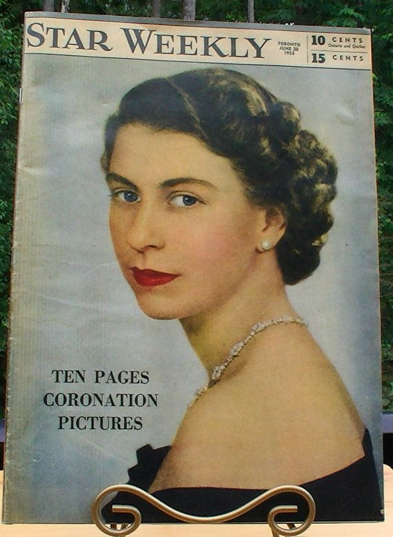 Queen Elizabeth Coronation 1953 Star Weekly by jeanienineandme