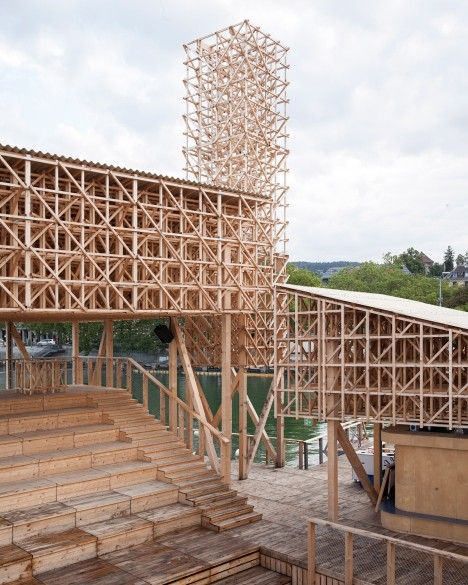 ETH Zurich students build floating timber pavilion on Switzerland's Lake Zurich