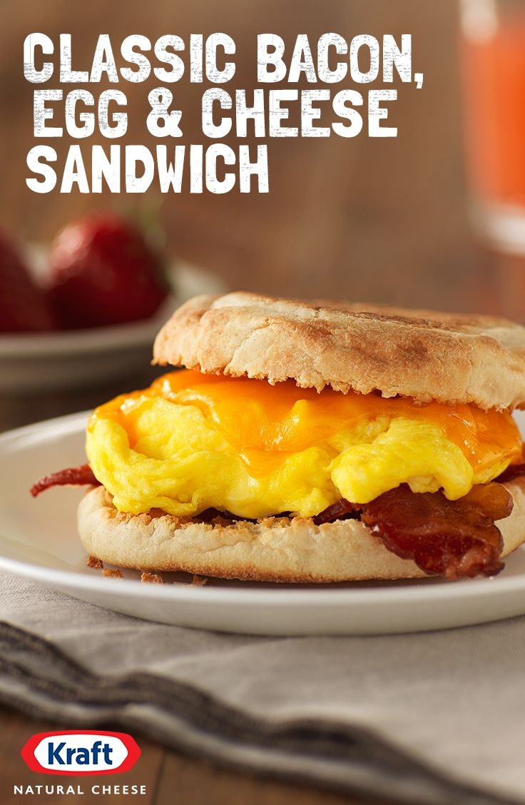 A thick slice of KRAFT Sharp Cheddar Cheese melted over bacon and eggs. If 100 years making sharp, creamy cheese has taught us anything, it's that it's normally best to keep it simple. http://www.kraftrecipes.com/recipes/classic-bacon-egg-cheese-sandwich-191321.aspx