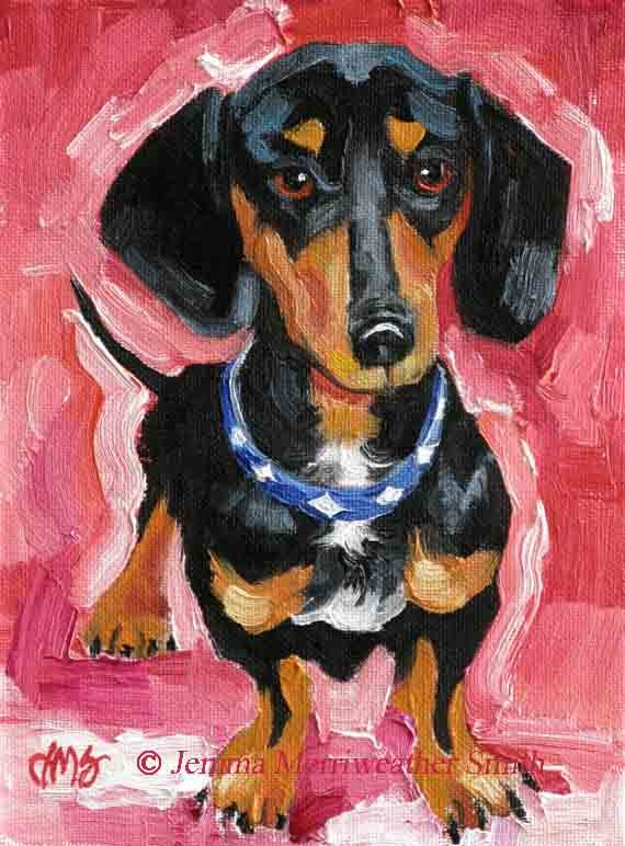Black Dachshund Painting, Doxie Art Print, Weiner Dog, Hot Dog - Giclee Art Print -  7 x 5  Dog Art. $10.00, via Etsy.
