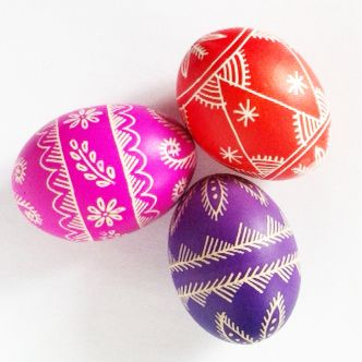 Pisanki - eggs made in Poland by folk artist from Opoczno. Method of decoration is batik.
