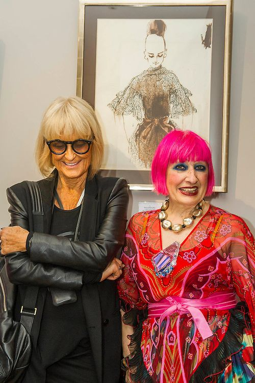 Dame Zandra Rhodes (R) and Barbara Hulanicki (BIBA in black) attend the Private view for Drawing on Style: Four Decades of Elegance - an exhibition of original vintage fashion illustrations from Post War 1940s through to the 1970s organized by GRAY M.C.A, leading specialists in Fashion Illustration.  It includes more than 40 original works by some of the leading illustrators of the time from Britain, Europe and America including René Bouché, René Gruau and Carl Erickson for publications…
