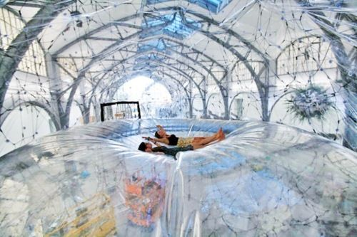 Tomas Saraceno's interactive Cloud Cities...at the Hamburger Bahnof Museum in Berlin Germany.