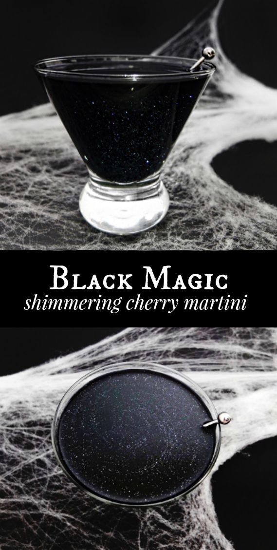 A Black Magic cocktail, black glittered Halloween or Galaxy cocktail made with black vodka, Wilton shimmer dust, orange juice, and cherry juice. With DIY for black vodka. // www.ElleTalk.com // Halloween cocktail, witch cocktail, galaxy cocktail, glitter