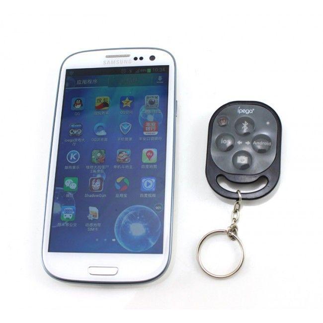 iPega Bluetooth-Kameran Kaukosäädin Älypuhelimille (Musta) - Ilmainen Toimitus!