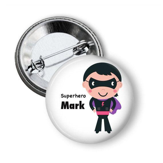 Name badge Superhero name badge Personalised by BadgeBliss on Etsy