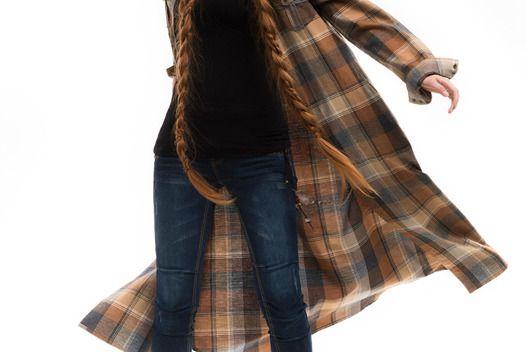 Длинное платье-рубашка в клетку