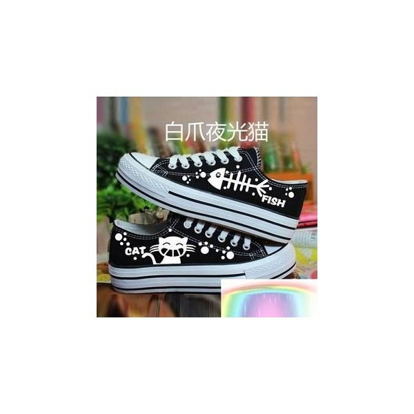 Painted Cat & Fish Canvas Sneakers ($31) ❤ liked on Polyvore featuring shoes, sneakers, footware, canvas sneakers, white shoes, bleach shoes, mid heel shoes and waist trainer