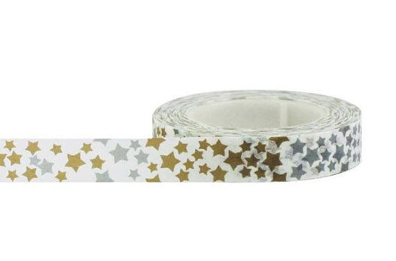 Gold Star Washi Tape, Paper Tape, Planner Tape, Gift Wrap, Craft