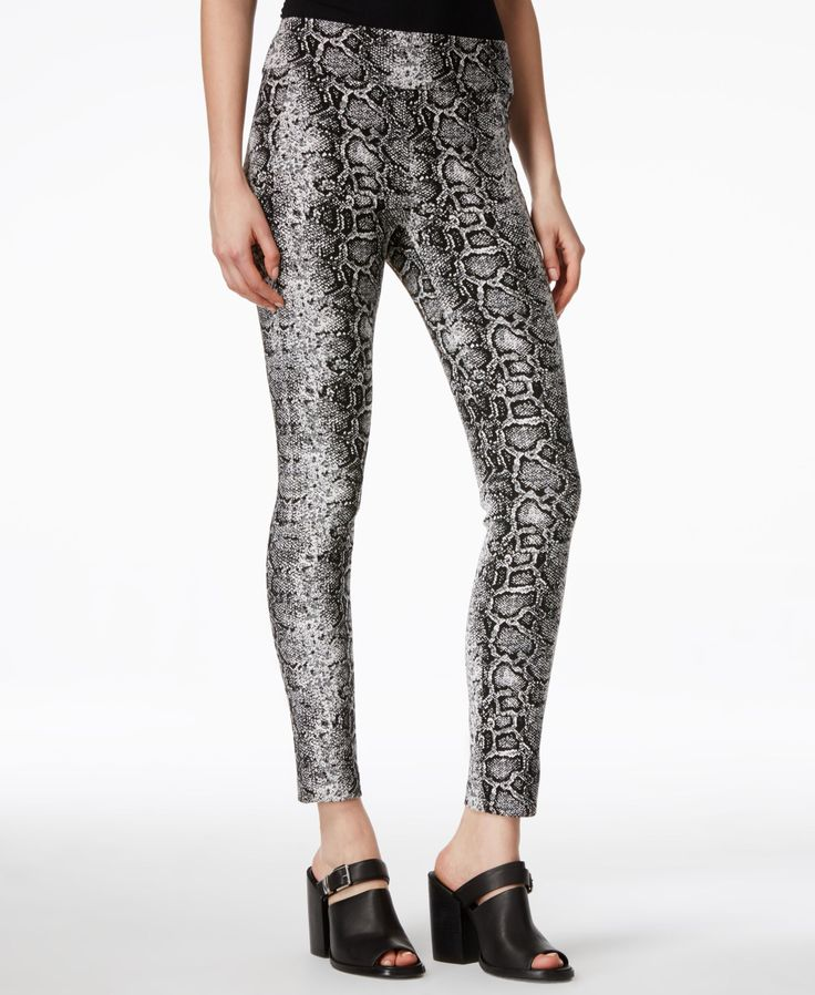 Bar Iii Pull-On Python-Print Leggings
